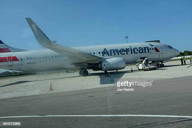 Miamibound American Airlines charter plane waits on the tarmac at José Martí International Airport on March 1 2015 in Havana Cuba The United States...