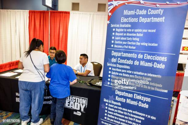 MiamiDade County Elections Department voter registration sign at the International Auto Show at Miami Beach Convention Center