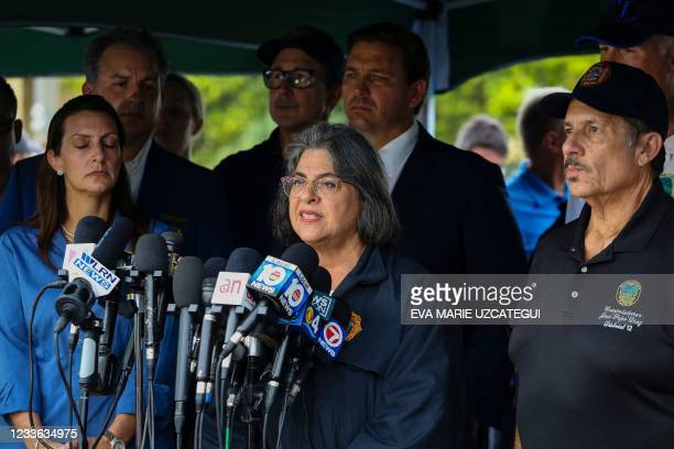 Miami-Dade County Mayor Daniella Levine Cava speaks during a press conference after a building partially collapsed in Surfside north of Miami Beach,...