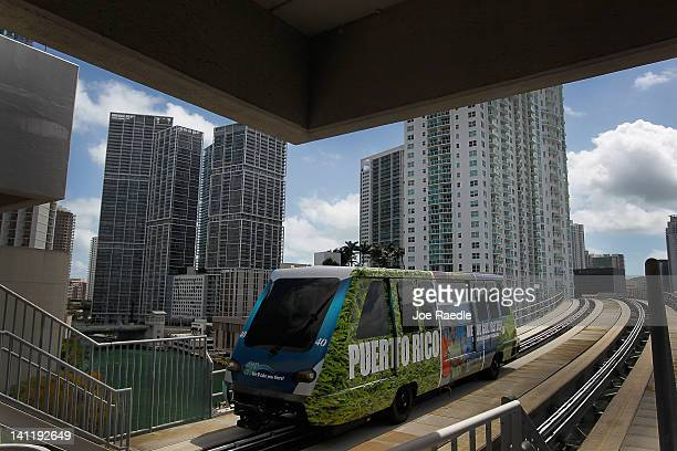 MiamiDade county Metromover train rolls along the track on March 12 2012 in Miami Florida With gas prices on the rise mass transit systems around the...