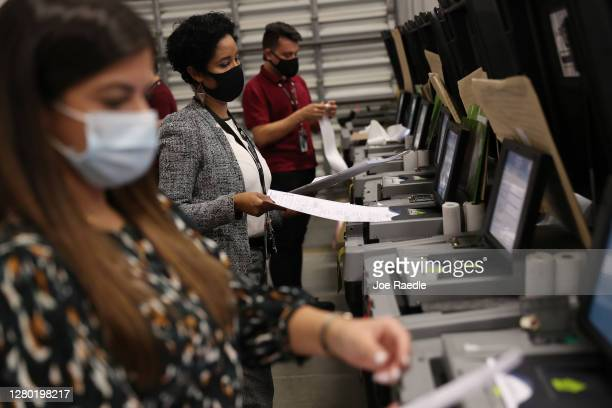Miami-Dade election workers check voting machines for accuracy at the Miami-Dade Election Department headquarters on October 14, 2020 in Doral,...