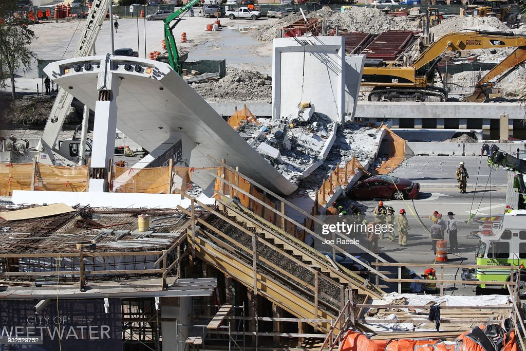 Multiple Fatalities Reported After Collapse Of Pedestrian Bridge In Miami : News Photo