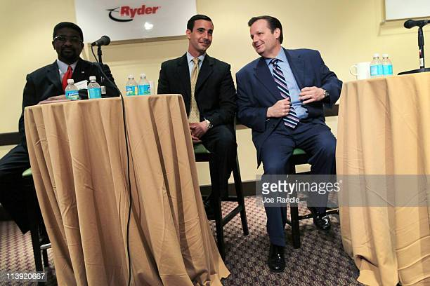 MiamiDade mayoral candidates Roosevelt Bradley former MiamiDade Transit Director Marcelo Llorente and current Mayor of Hialeah Julio Robaina sit...