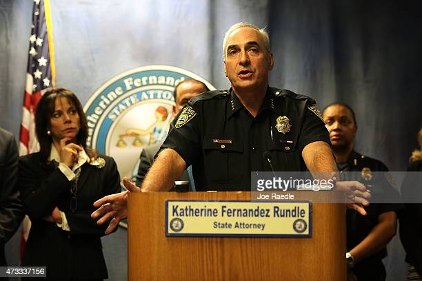 MiamiDade State Attorney Katherine Fernandez Rundle listens as Miami Beach Police Chief Daniel Oates speaks during a news conference to announce that...