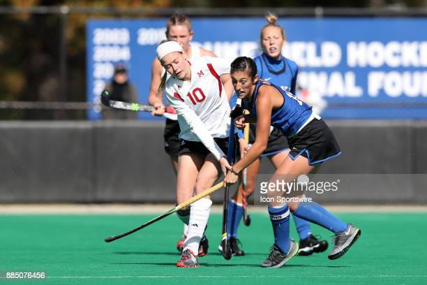 Miami's Allie Grace Joyner and Duke's Alexa Mackintire during the Duke Blue Devils game versus the Miami University Redhawks in the First Round of...