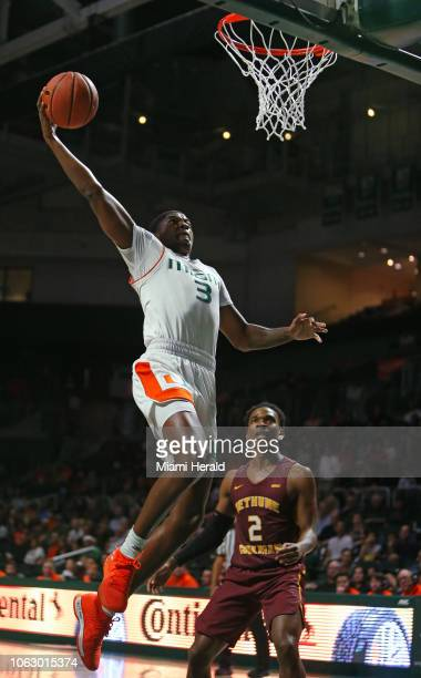 Miami's Anthony Lawrence II dunks during the first half against BethuneCookman at the Watsco Center in Coral Gables Fla on Saturday Nov 17 2018 Miami...