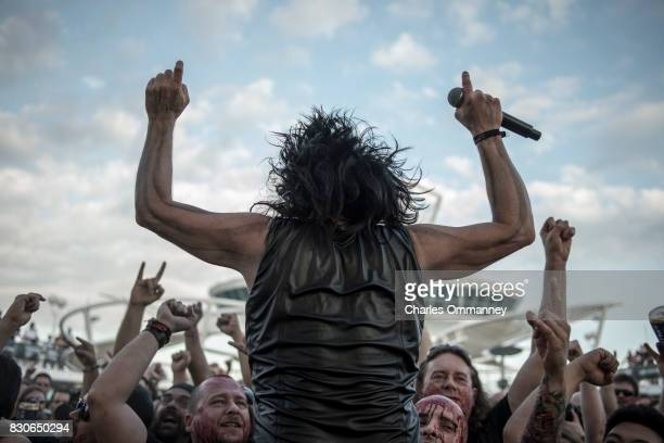 Miami/Turks Caicos Islands JANUARY 2831 Onboard the cruise liner 'Majesty of the Seas' during the '70000 Tons of Metal Tour' Fan splattered with fake...