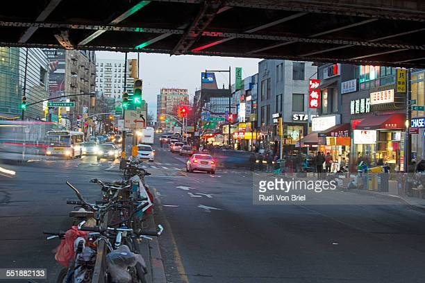 mian street, flushing queens, ny. - flushing queens stock pictures, royalty-free photos & images