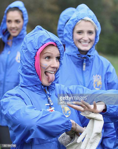 Mianette Broekman Miss New Zealand take part in the Miss World Highland Games at Crieff Hotel on October 24 2011 in Crieff Scotland One hundred and...