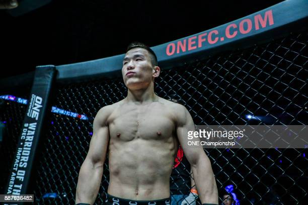 Miao Li Tao prepares to face Sim Bunsrun at ONE Championship Immortal Pursuit at the Singapore Indoor Stadium on November 24 2017 in Singapore...
