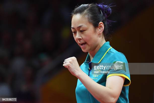 Miao Miao of Australia celebrates victory during the Table Tennis Women's Team quarter final against Wales on day two of the Gold Coast 2018...