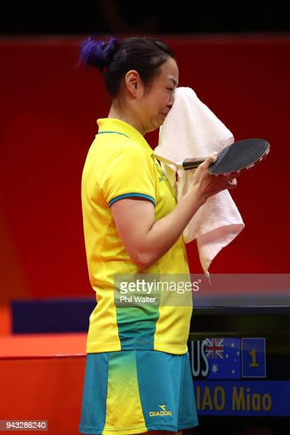 Miao Miao of Australia crys after recieving a time wasting penalty in their Womens Team bronze medal match against TinTin Ho of England during Table...