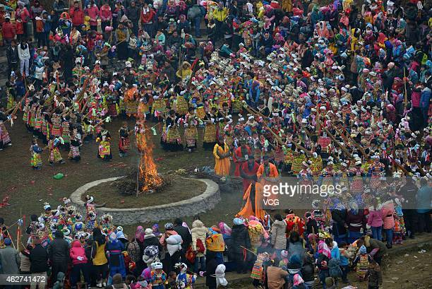 Miao nationality people celebrate lunar new year on February 9, 2014 in Longli, Guizhou Province of China. Chinese people are celebrating the Spring...