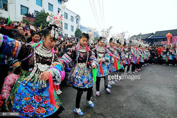 Miao people dance during a Miao culture festival at Congjiang County on January 15, 2017 in Qiandongnan Miao and Dong Autonomous Prefecture, Guizhou...