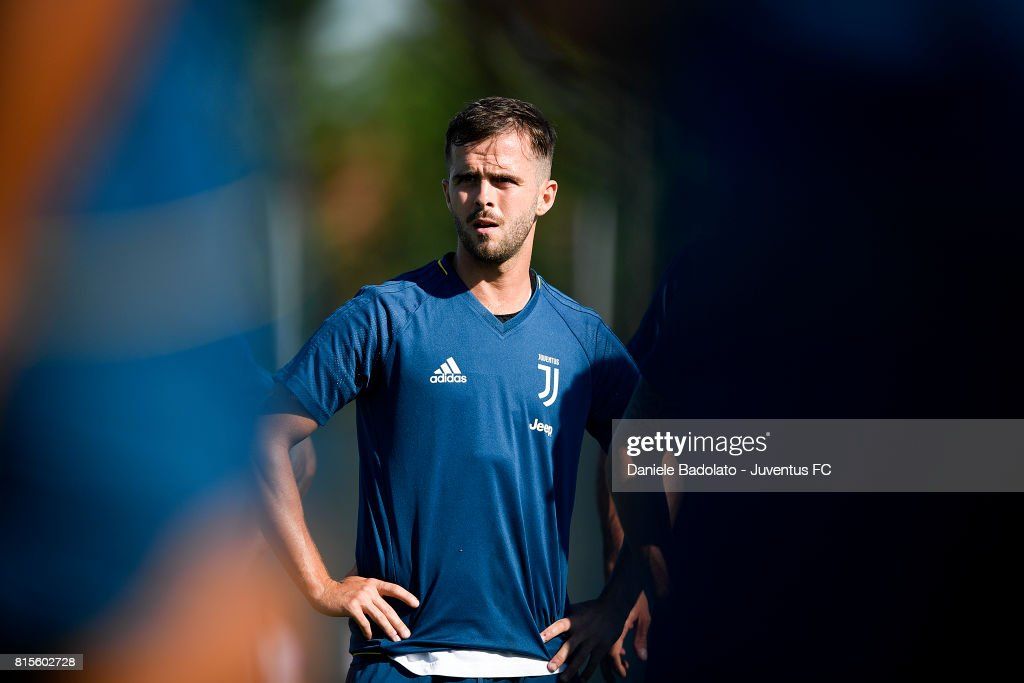 Miarlem Pjanic of Juventus during a training session on July 16, 2017 in Vinovo, Italy.