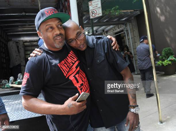 Mic Geronimo reacts during a funeral held for rapper Prodigy off Mobb Deep at at Frank E Campbell Funeral Chapel in New York City on June 29 2017 in...