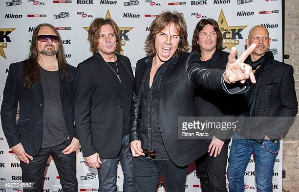 Mic Michaeli John Leven Joey Tempest John Norum and Ian Haugland of Europe attend the Classic Rock Roll of Honour at The Roundhouse on November 11...