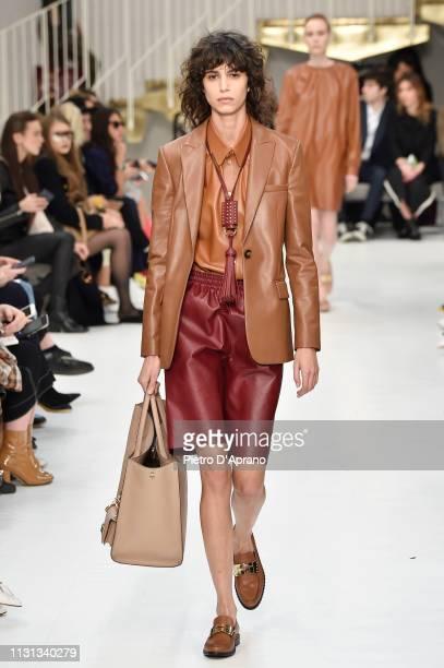 Mica Argañaraz walks the runway at the Tod's show at Milan Fashion Week Autumn/Winter 2019/20 on February 22, 2019 in Milan, Italy.