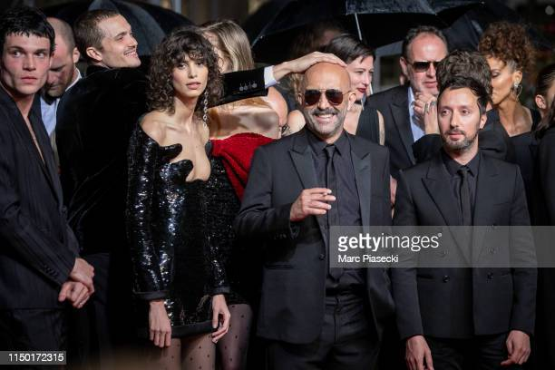 """Mica Arganaraz, Gaspard Noe and Anthony Vaccarello attend the screening of """"Lux Aetterna"""" during the 72nd annual Cannes Film Festival on May 18, 2019..."""