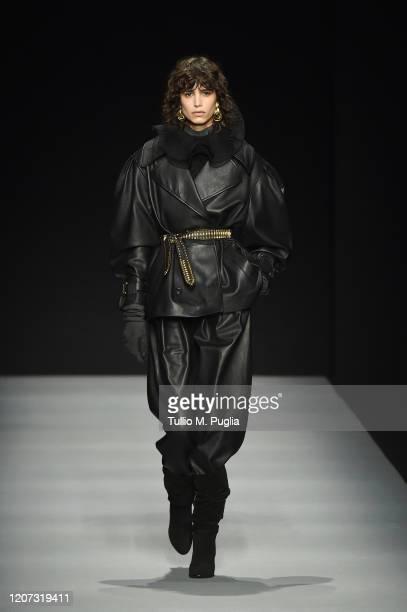 Mica Arganaraz walks the runway during the Alberta Ferretti fashion show as part of Milan Fashion Week Fall/Winter 2020-2021 on February 19, 2020 in...