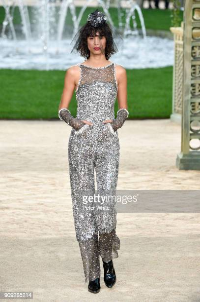 Mica Arganaraz walks the runway during the Chanel Spring Summer 2018 show as part of Paris Fashion Week on January 23 2018 in Paris France