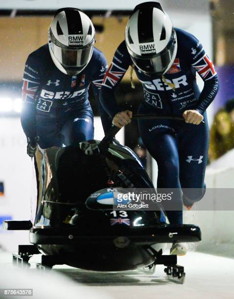 Mica McNeill and Mica Moore of Great Britain compete in the 2woman Bobsleigh during the BMW IBSF Bobsleigh and Skeleton World Cup on November 17 2017...