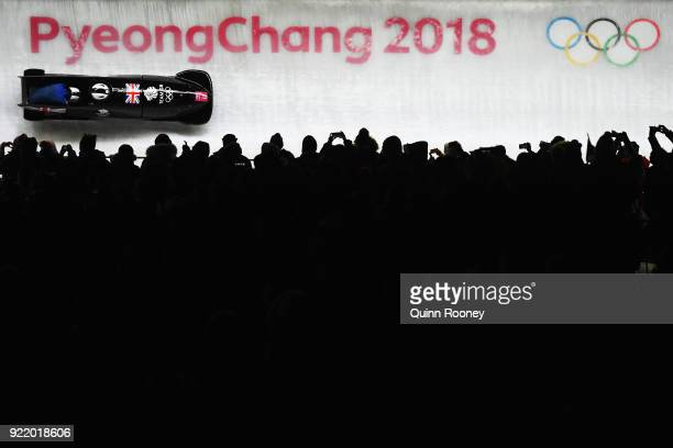 Mica Mcneill and Mica Moore of Great Britain slide during the Women's Bobsleigh heats on day twelve of the PyeongChang 2018 Winter Olympic Games at...
