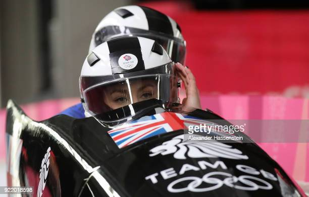 Mica Mcneill of Great Britain reacts in the finish area during the Women's Bobsleigh heats on day twelve of the PyeongChang 2018 Winter Olympic Games...