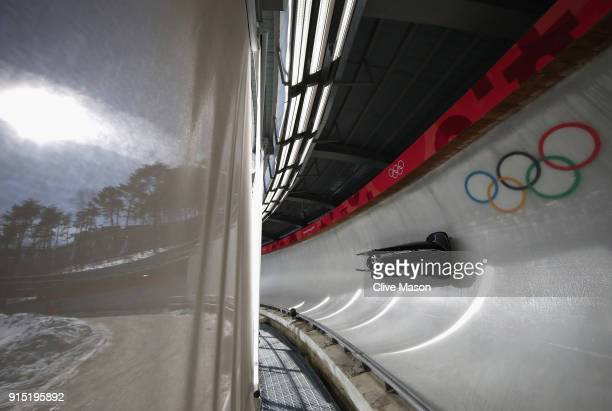 Mica McNeill of Great Britain trains during Bobsleigh practice ahead of the PyeongChang 2018 Winter Olympic Games at Olympic Sliding Centre on...