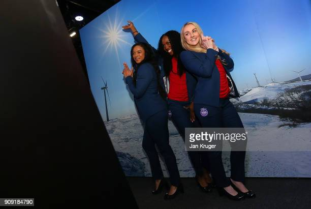 Mica Moore Montell Douglas and Mica McNeil pose during the Team GB Kitting Out Ahead Of Pyeongchang 2018 Winter Olympic Games at Adidas headquarters...