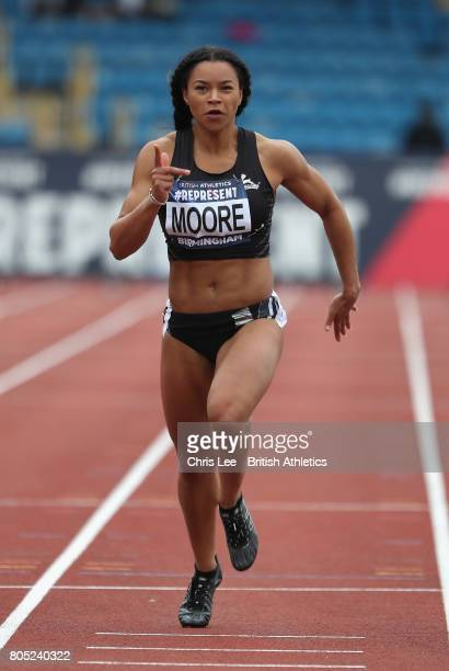 Mica Moore of Great Britain in the Womens 100m Heats during Day One British Athletics World Championships Team Trials at Birmingham Alexander Stadium...