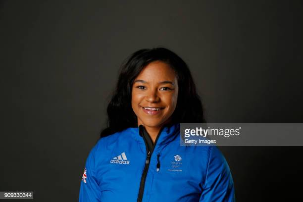 Mica Moore poses at The Team GB Kitting Out Ahead Of Pyeongchang 2018 Winter Olympic Games on January 23 2018 in Stockport England