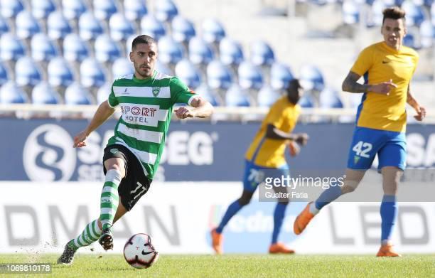 Mica Silva of SC Covilha in action during the Liga Ledman Pro match between GD Estoril Praia and SC Covilha at Estadio Antonio Coimbra da Mota on...