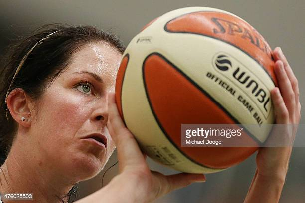Micaela Cocks of the Fire shoots for goal during the WNBL Preliminary Final match between the Dandenong Rangers and the Townsville Fire on March 2...