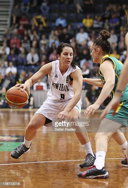 Micaela Cocks of the Tall Ferns in action during the Women's FIBA Oceania Championship match between the Australian Opals and the New Zealand Tall...