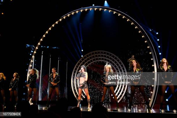 Micaela Diamond and the cast of The Cher Show performs onstage at The Cher Show Broadway Opening Night at Neil Simon Theatre on December 03 2018 in...