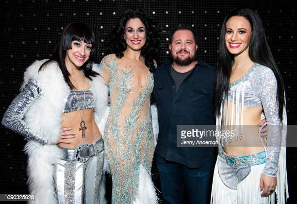 Micaela Diamond Stephanie J Block Chaz Bono and Teal Wicks backstage at The Cher Show on Broadway at the Neil Simon Theatre on January 5 2019 in New...