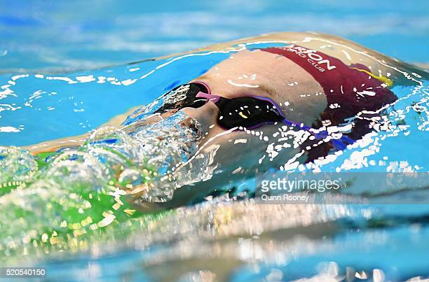Micaela Habib of Australia competes in the Women's 200 Metre Backstroke during day six of the 2016 Australian Swimming Championships at the South...