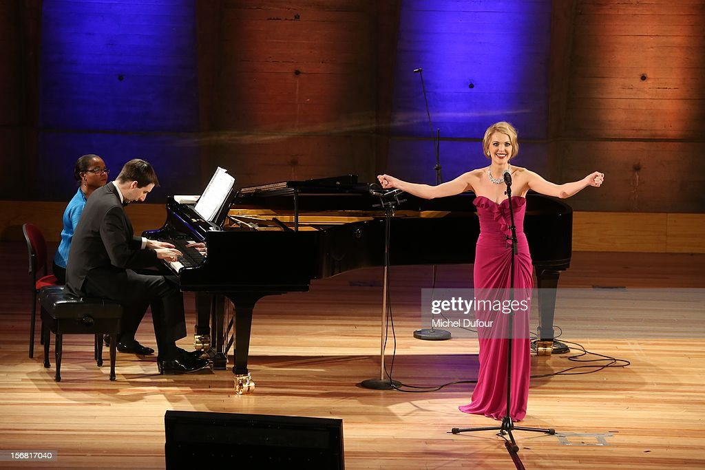 Micaela Oeste on stage at the Placido Domingo Named Goodwill Ambassador Of Unesco ceremony and dinner at UNESCO on November 21, 2012 in Paris, France.