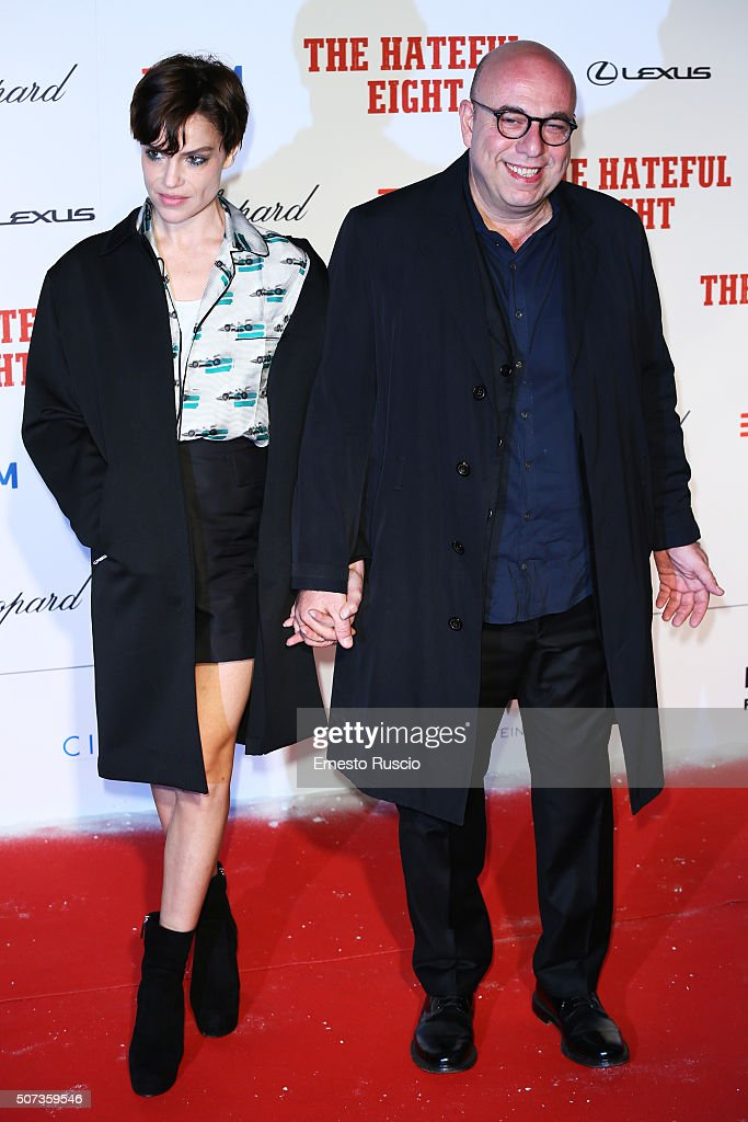 Micaela Ramazzotti and Paolo Virzi walk the red carpet for 'The Hateful Eight' premiere on January 28, 2016 in Rome, Italy.