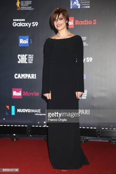 Micaela Ramazzotti walks a red carpet ahead of the 62nd David Di Donatello awards ceremony on March 21 2018 in Rome Italy