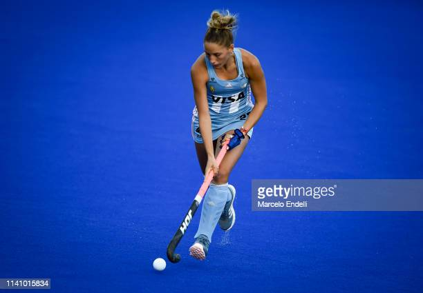 Micaela Retegui of Argentina in action during the Women's FIH Field Hockey Pro League match between Argentina and Great Britain at Estadio...