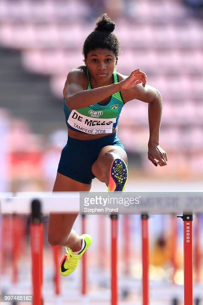 Micaela Rosa de Mello of Brazil in action during heat 3 of the women's 100m hurdles on day four of The IAAF World U20 Championships on July 13 2018...
