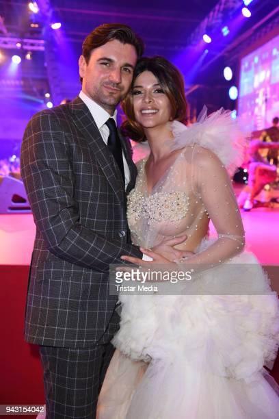 Micaela Schaefer and her boyfriend Felix Steiner attend the 'Goldene Sonne 2018' Award by SonnenklarTV on April 7 2018 in Kalkar Germany