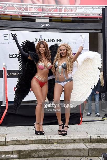 Micaela Schaefer and Sarah Joelle Jahnel attend the opening of the Venus Erotic Fair at Palais am Funkturm on October 13 2016 in Berlin Germany