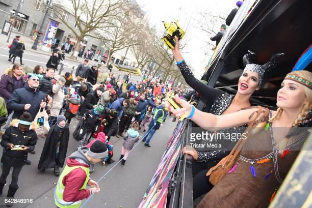 Micaela Schaefer and Yvonne Woelke attend the Berlin Carnival Parade on February 19, 2017 in Berlin, Germany.