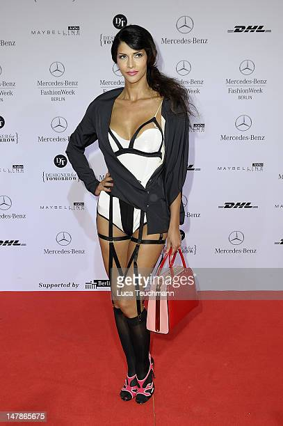 Micaela Schaefer arrives for the Marcel Ostertag Show during MercedesBenz Fashion Week Spring/Summer 2013 on July 5 2012 in Berlin Germany