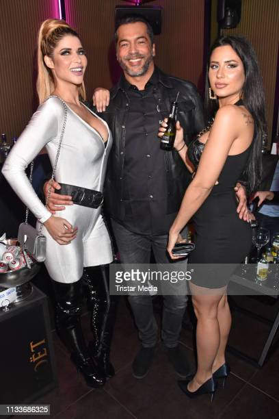 Micaela Schaefer Aurelio Savina and Alina Patta during the Giulia song release party at Cheshire Cat Club on March 29 2019 in Berlin Germany