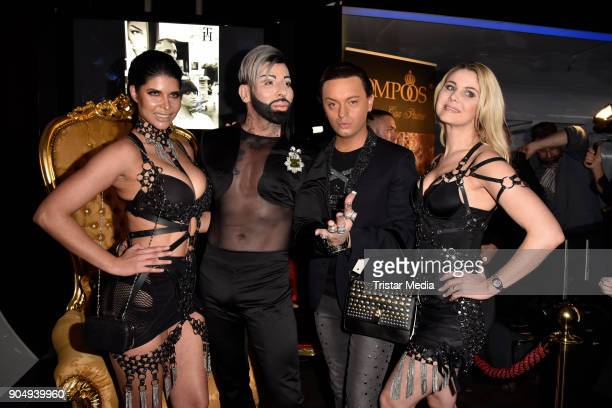 Micaela Schaefer Harald Gloeoeckler Julian FM Stoeckel and Yvonne Woelke attend the Pompoeoes Welcome Party 2018 on January 14 2018 in Berlin Germany