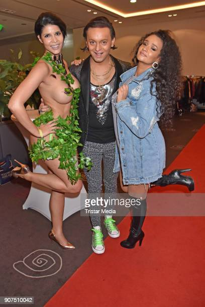 Micaela Schaefer Julian F M Stoeckel and Gabriella Gabby Christina De Almeida Rinne during the Public Viewing Of the TV Show 'Ich bin ein Star Holt...